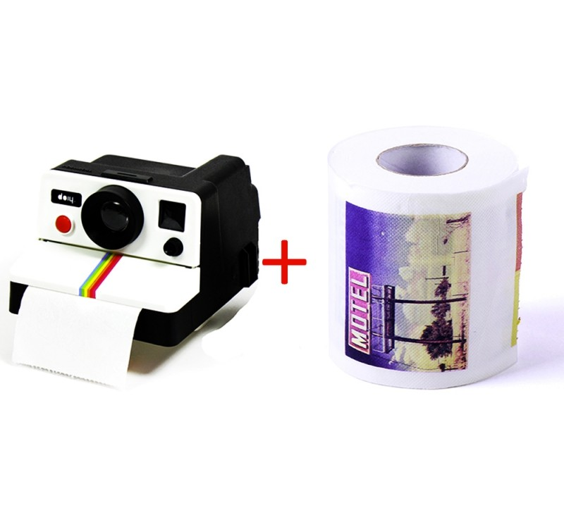 Papier toilette avec photos + POLAROLL Distributeur type Polaroid